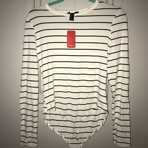 Black and white stripped long sleeve bodysuit